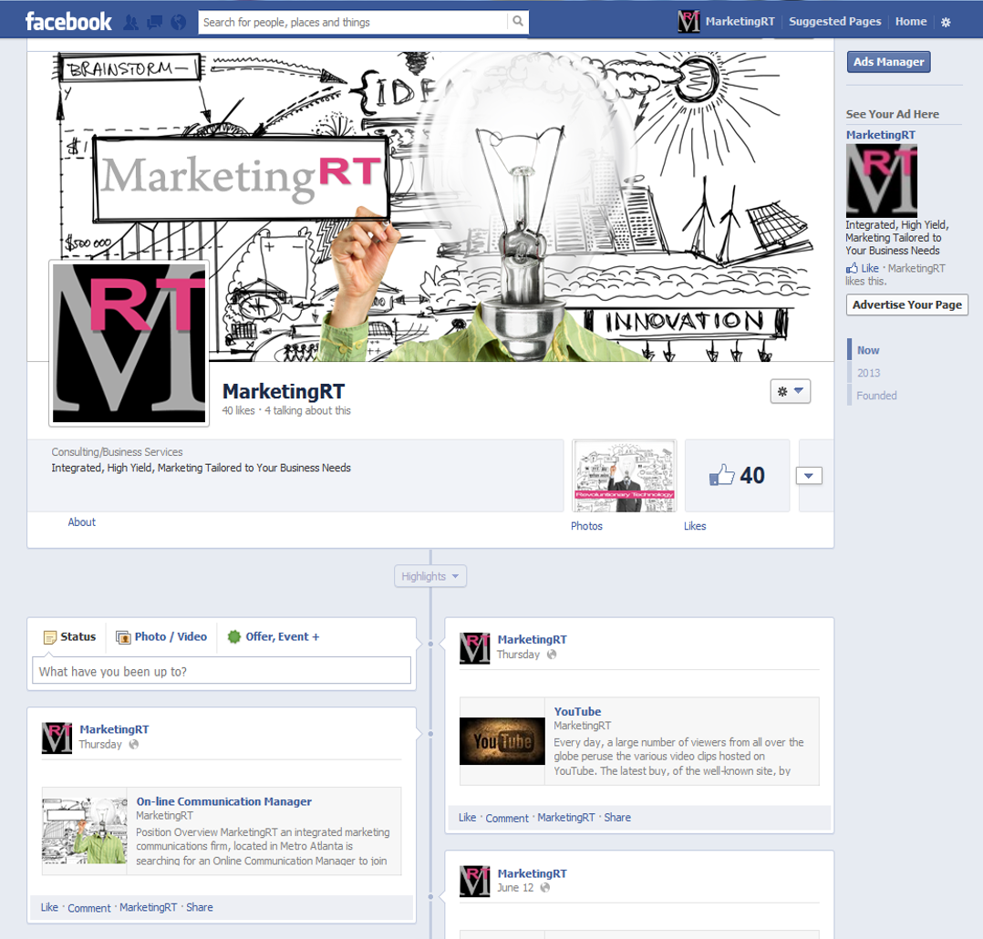 Project: Social - Facebook - MarketingRT 2013