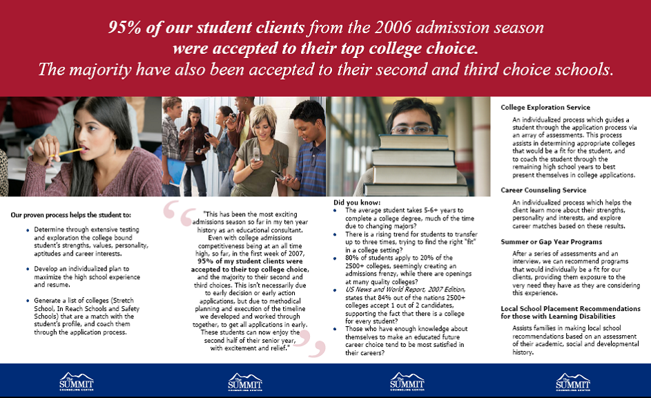 Project Brochure Summit College Counseling – College Brochure