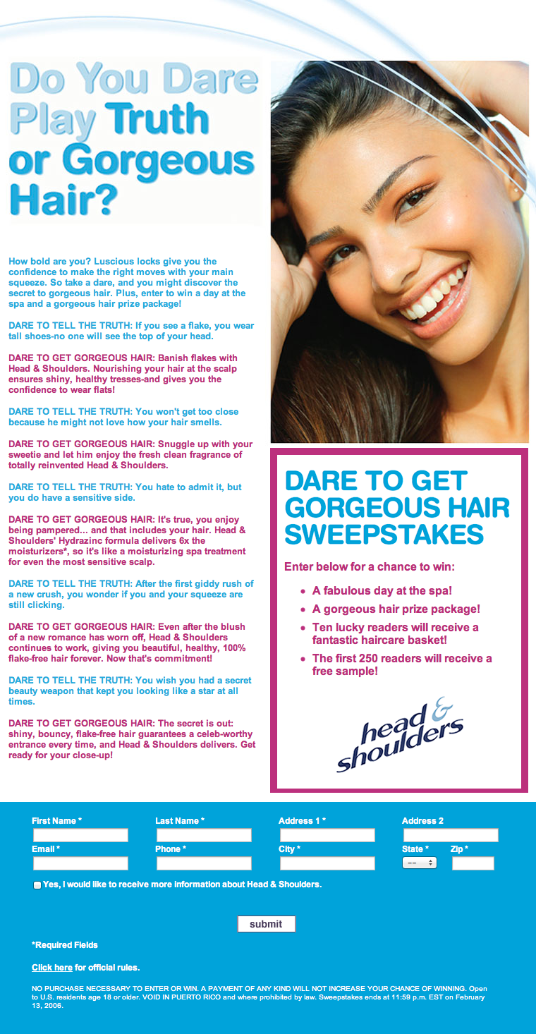 Project: SweepsStakes - Head and Shoulders